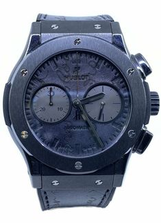 Hublot Classic Fusion Chronograph Berluti Scritto All Black G Shock, Hublot Classic Fusion, Hublot Watches, Watch Brands, Chronograph, Clocks, All Black, Watches For Men, Leather
