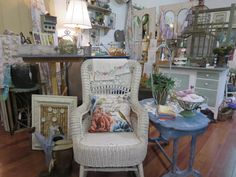 vintage wicker, enamel top table, cork board https://www.facebook.com/LaBelleBrocanteShop/