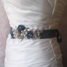 Denim Blue Bridal Sash Dusty Blue Khaki and by TheRedMagnolia... nice for your something blue