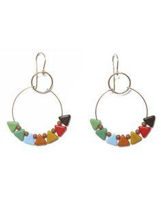 Ronni Kappos  multi triangle hoop earrings