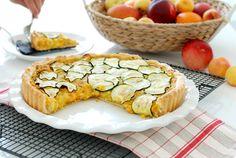 Tarta salada fácil de pollo, maíz y calabacín