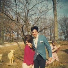 "ladypresley: ""Priscilla Beaulieu and Elvis Presley at Graceland, Christmas 1964. """