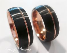 Matching Wedding Bands, Couples Wedding Rings, Rings, Tungsten Bands, His Hers  Promise Rings, Rose Gold Tungsten Ring, Black Tungsten Rings by RingsParadise on Etsy