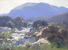 Hanson Puthuff. (1875-1972). Mountain Landscape with Stream. OIl on Canvas. 12 x 16 in.