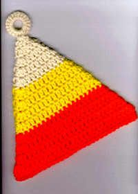 "Candy Corn Potholder Designed by: Cylinda Mathews Materials: Worsted weight yarn, (Cream, Yellow, Orange) Crochet hook, size I 1"" Plastic ring Finishing Materials: Tapestry needle Finished Size:..."