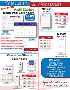 New FULL COLOR Desk Pad Calendars from Paper-Line!
