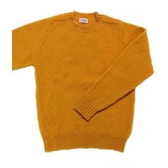 Killer saddle shouldered Shetland in mustard ❤ liked on Polyvore featuring tops, sweaters, crew neck top, mustard yellow sweater, crew top, shetland wool sweater and crew neck sweaters