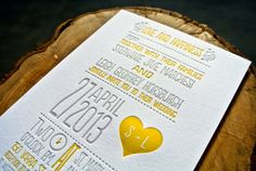 Letterpress Wedding Invitation  Yellow and Gray by WideEyesDesign, $4.00