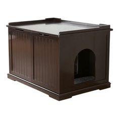BuyHive, 2-Door, Washroom, Bed, & Nightstand, Cat House, White, 30-in - Walmart.com - Walmart.com Hiding Cat Litter Box, Cat Litter Box Enclosure, Litter Pan, Wooden Cat House, Litter Box Covers, Indoor Pets, Outdoor Cats, Cat Supplies, Pet Home