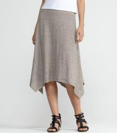 Eileen Fisher Knee-Length Skirt in Linen Jersey with Mini Stripe