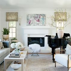 agate print roman shades in neutral living room with black baby grand piano