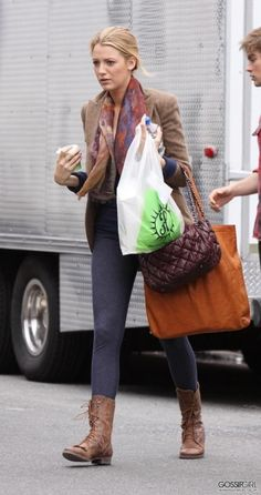 Blake Lively wearing Ralph Lauren Fall 2009 Tweed Blazer Joie Roper Combat Boots with Fringe Topshop Denim Look Leggings Tory Burch T Tote Bag Chanel Bubble Quilt Flap Bag. Blake Lively On the Set of Gossip Girl September 30 2009.