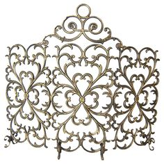 Woodland Direct 3 Panel Florentine Fireplace Screen with Arch, Antique Gold Fireplace Screens, Paneling, Decor, Fireplace Accessories, Ornate, Bronze, Fireplace, Iron, Home Decor