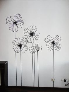 super ideas for wall drawing murals artists Diy Wand, Wall Painting Decor, Wall Painting Flowers, Drawing Flowers, Wall Paintings, Kunstjournal Inspiration, Wall Drawing, Wire Art, Doodle Art