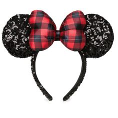 Minnie Mouse Sequined Ear Headband - Holiday Plaid