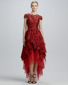 High-Low Floral-Embroidery Ball Gown  ~ Monique Lhuillier
