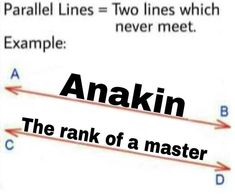 Two lines which never meet.