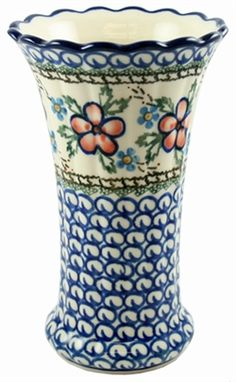 Polish Pottery Stoneware Small Fluted Vase