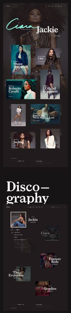 Concepts for a redesign of Ciara's personal website. All Website, Website Layout, Typography Inspiration, Web Design Inspiration, Page Template, Templates, Fashion Web Design, Ui Web, Interface Design