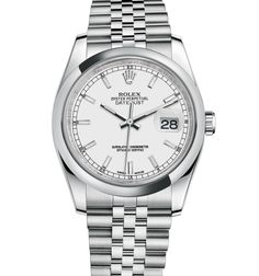 #Rolex Datejust 36 mm in 904L steel with a smooth bezel, white dial and Jubilee bracelet.  176 Broadway, New York, NY 10038 (P) 212.732.0890  1118 Kings Highway, Brooklyn, NY 11229 (P) 718.375.1818