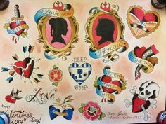 Nerdy Valentine's Day tattoo flash sheet by totallyshazbot on deviantART