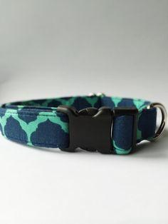 Blue and Green Covington Dog Collar Handmade