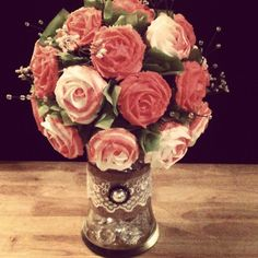 - This was my first rose cupcake bouquet. I made it for a vintage/glam bridal shower.