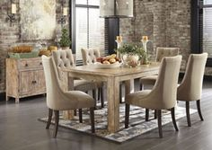 Mestler Washed Brown Rectangular Dining Table w/ 6 Light Brown Upholstered Side Chairs, /category/dining-room/mestler-washed-brown-rectangular-dining-table-w-6-light-brown-upholstered-side-chairs.html