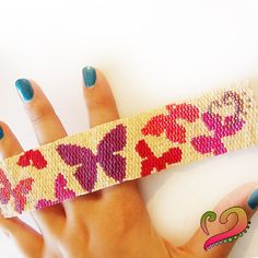 Fly Fly Butterfly Wide Peyote Cuff Bracelet beadwoven art jewelry