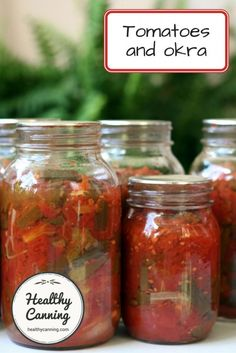 Tomatoes with okra - Healthy Canning Canning Stewed Tomatoes, Canning Soup, Okra And Tomatoes, Canning Vegetables, How To Peel Tomatoes, Canning 101, Grilled Vegetables, Okra Recipes, Canning Recipes