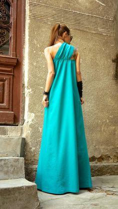 Hot Summer Maxi robe robe en lin vert de pin / une épaule