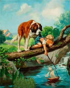 Illustrations -by Henry Hintermeister Art And Illustration, Ink Illustrations, Vintage Pictures, Art Pictures, Norman Rockwell, Beautiful Paintings, Beautiful Gif, Dog Art, Belle Photo