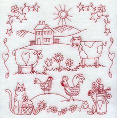 Primitive Redwork Patterns | Machine Embroidery Designs at Embroidery Library! - New This Week