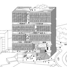 These days, renders tend to dominate the portfolios of contemporary architectural studios around the world, backed up by the traditional tripartite of plans,. Open Architecture, Architecture Drawings, Concept Architecture, Architect Drawing, Concept Diagram, High Rise Building, Building Design, Planer, Perspective