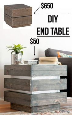 This Is So Incredible Saving This For The Future. I Love How Easy It Is To Build This Tiered End Table. It Had Metallic Accents Too Diy Chunky Three Tier End Table Modern Farmhouse With Steel Accents Step By Step Tutorial And Plans. Diy Wood Projects, Furniture Projects, Furniture Plans, Diy Furniture, Furniture Stores, Cottage Furniture, Multifunctional Furniture, Inexpensive Furniture, Furniture Websites