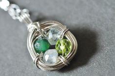 "custom mothers birthstone necklace ""FAMILY NEST"" by Mu-Yin Jewelry (aka muyinmolly on Etsy)"