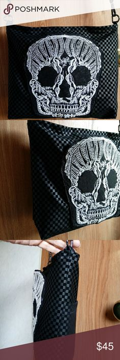 """Faux Suede Crochet Skull Bag Soft faux suede purse with adjustable strap, zipper closure and large crochet skull pocket on front. Full size pocket on back. Inside pocket from recycled denim- fully lined. 14"""" X 10"""" All hand made by me ☺ Bags Shoulder Bags"""
