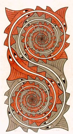 M.C. Escher - Whirlpools 1957 wood engraving and woodcut, second state, in red, grey and black, printed from 2 blocks