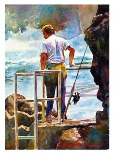 """Graham Berry, Looking to fish 11"""" x 8"""" on Saunders w/color paper ( Rough )"""