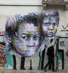 Voiceless children are the center of this heart breaking and introspective street art poster by Stamatis (STMTS)