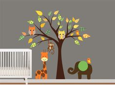 Childrens Vinyl Tree Decal Animal Vinyl Wall Art by NurseryWallArt, $89.99