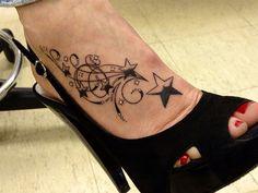 flower tattoos for women on foot | Swirly Stars Foot Tattoo