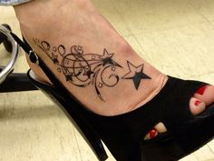 10 Sexy Foot Tattoos for Women - I like this design, but would use hearts instead of stars.