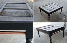 Image detail for -DIY:Exterior Door Turned Into A Coffee Table Pallett Coffee Table, Wine Crate Coffee Table, Door Coffee Tables, Mirrored Coffee Tables, Recycled Furniture, Diy Furniture, Distressed Furniture, Furniture Projects, Diy Projects