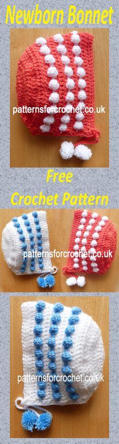Free baby crochet pattern for bobbly bonnet. #crochet