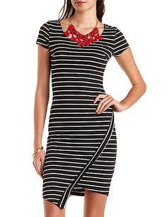 Striped Asymmetrical Bodycon Dress charlotterusse #charlottelook