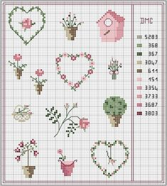 hearts and flowers in pink Plus