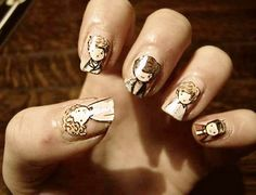 Hand drawn One Direction nail art - so cute!