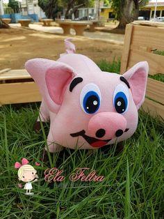 Animais da Fazenda em Feltro - Como Fazer Sewing Stuffed Animals, Textiles, Piggy Bank, Crafty, Farm Party, Felt Dogs, Craft Papers, Applique Quilts, Peso De Porta