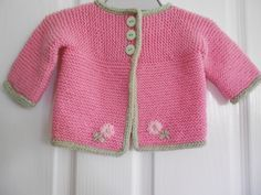 Ravelry: Jailou's Pink Cardi for Mila - used pattern:  Strawberry Pink Sideways Cardigan & Hat @ LionBrand - *pattern*